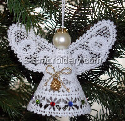 Christmas Angel Battenberg Lace 3D ornament