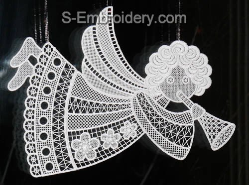 Freestanding Lace Angel Christmas Window Decoration