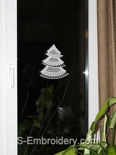 Freestanding Lace Christmas tree window decoration