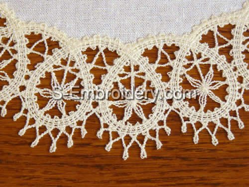 Battenberg Lace machine embroidery - close-up image