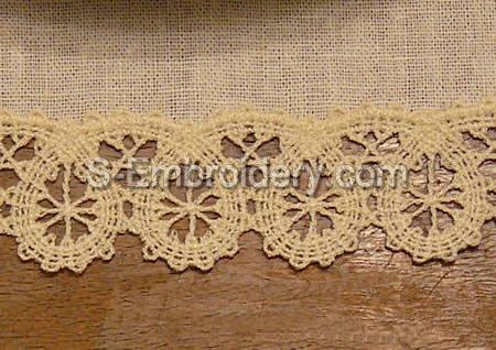 Battenberg lace border machine embroidery design