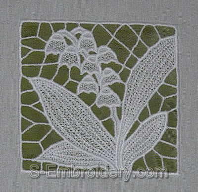 Lilly of the valley freestanding lace embroidery