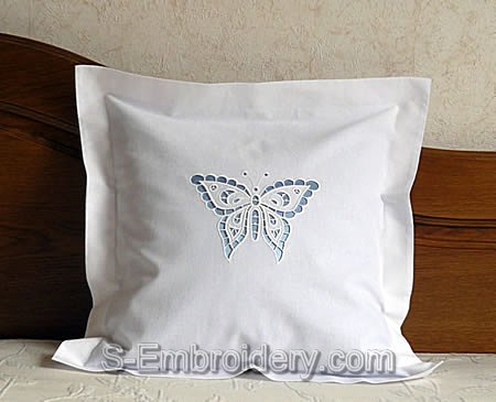 Pilow case with Butterfly cutwork lace embroidery design