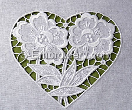 Floral heart Cutwork lace embroidery