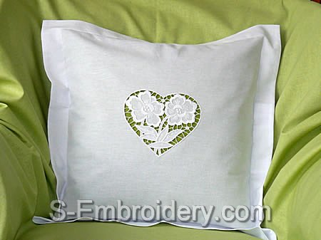 Pillow case with Cutwork Lace Floral Heart Decoration