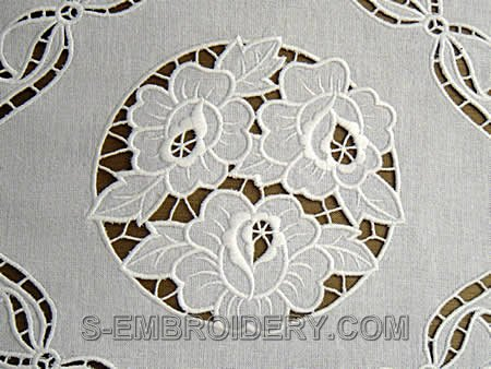 Rose cutwork lace machine embroidery - detailed image