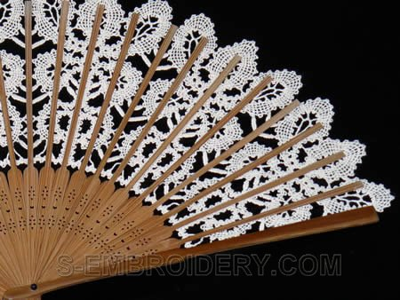 Battenberg lace fan close-up image