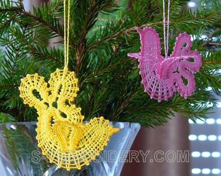 Dove Battenberg Lace Christmas or Easter tree ornaments
