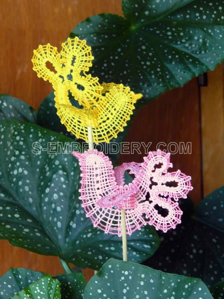 Dove Battenberg Lace flower pot ornaments