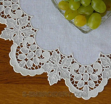 Freestanding lace grapes doily - detailed image