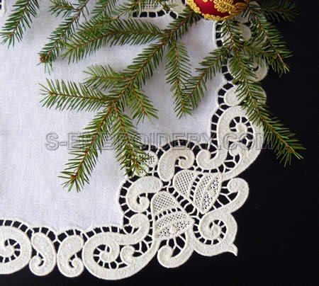 Christmas bells freestanding lace doily - detailed image