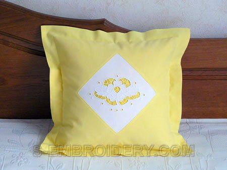 Rose cutwork lace decorated pillow case