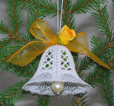 Battenberg Lace Christmas Bell ornament
