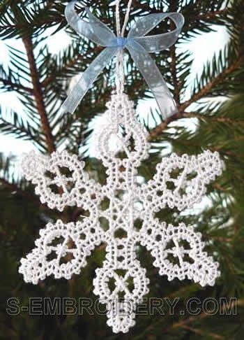 Freestanding Battenberg Lace Snowflake Christmas Tree Ornament