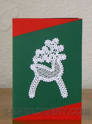 Battenberg Lace Christmas reindeer Greeting Card Ornament
