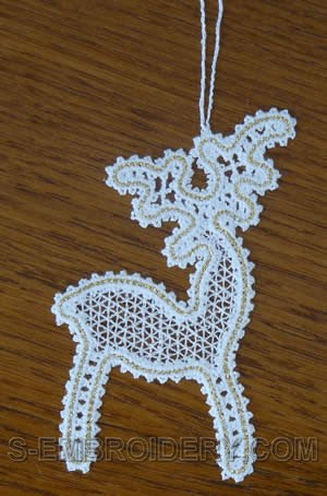 Battenberg lace Reindeer Christmas tree ornament