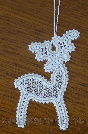 Battenberg lace Reindeer Christmas tree ornament