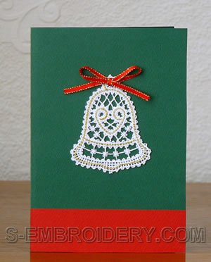 Christmas bell Battenberg lace ornament