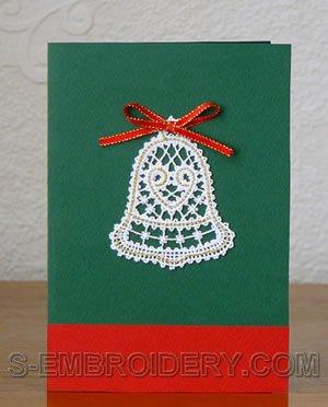 Christmas bell Battenberg lace ornament
