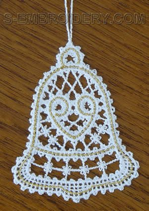 Battenberg lace Christmas bell ornament