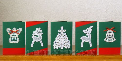 Battenberg Lace Christmas Greeting Card Ornaments