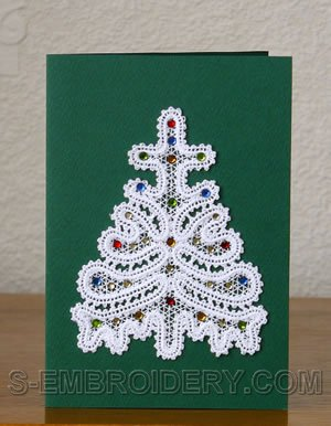 Christmas tree Battenberg lace ornament