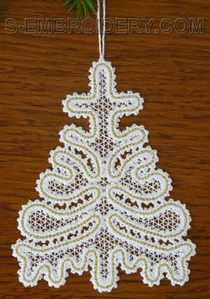 Battenberg lace Christmas tree ornament