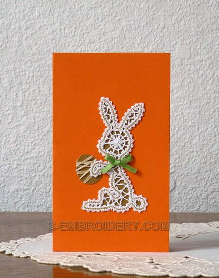 Easter greeting card with Easter bunny Battenberg lace decoration
