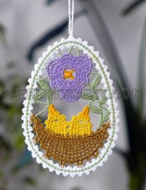 Easter tree Battenberg lace ornament