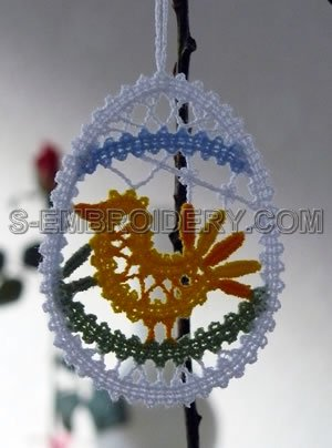 Easter tree machine embroidery ornament