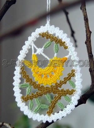 Easter tree Battenberg lace machine embroidery ornament
