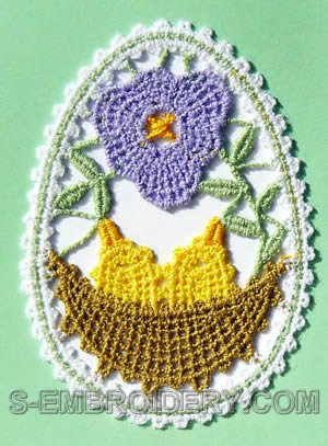 Easter egg freestanding lace ornament machine embroidery design