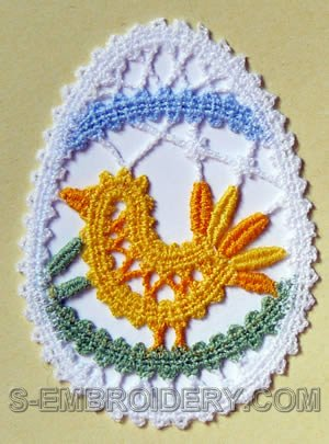 Easter egg Battenberg lace ornament embroidery design