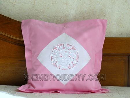 Pillow case with cutwork lace roses