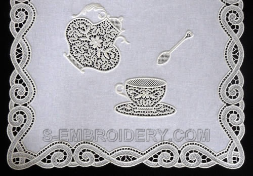 Freestanding lace teatime embroidery set
