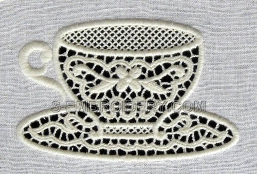 Freestanding lace teacup machine embroidery design