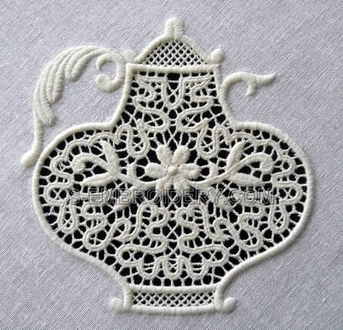 Freestanding lace teapot machine embroidery design