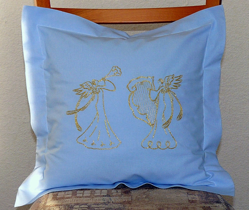Pillow case with angels machine embroidery decoration