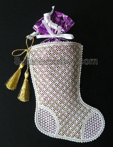 Battenberg lace Christmas stocking machine embroidery