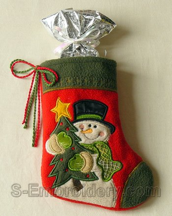 Christmas stocking with snowman applique embroidery