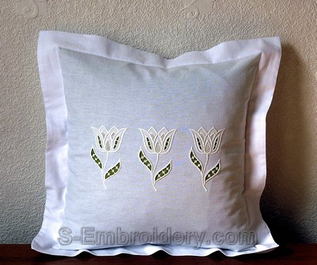 Pillow case with cutwork lace tulip embroidery decoration