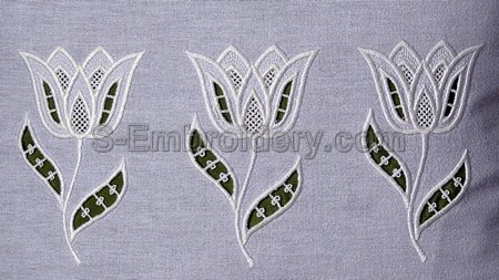 Tulip cutwork lace machine embroidery
