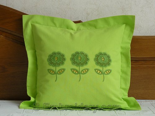 Pillow case with flower cutwork lace embroidery decorations