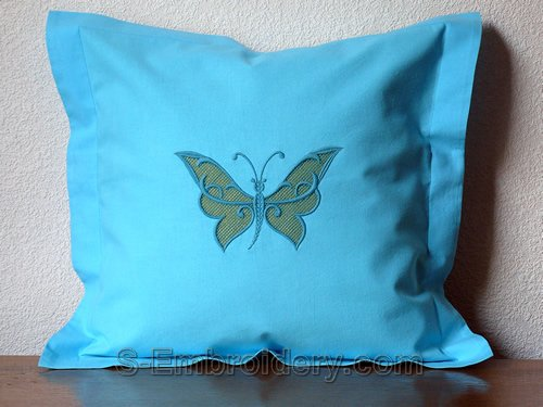Pillow case with butterfly cutwork lace machine embroidery