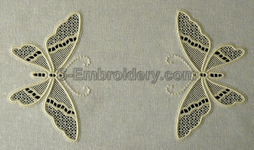 Cutwork lace machine embroidery butterflies