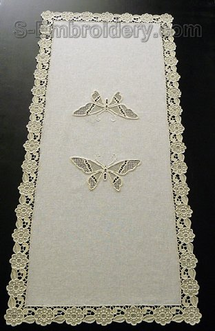 Butterfly cutwork lace table runner