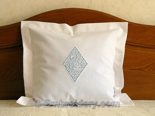Pillow case with swan cutwork lace embroidery decoration