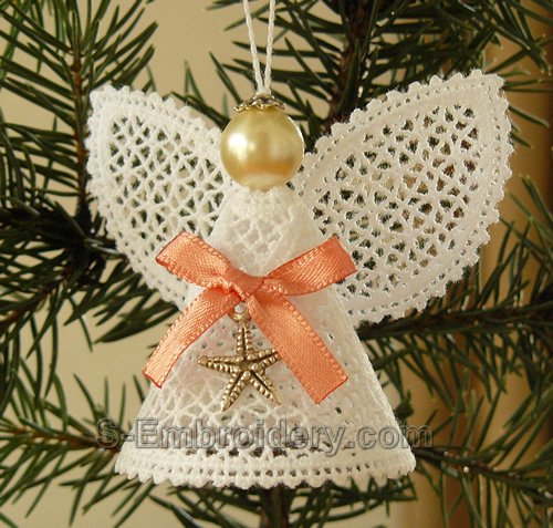 Christmas angel battenberg lace ornament - monocolor