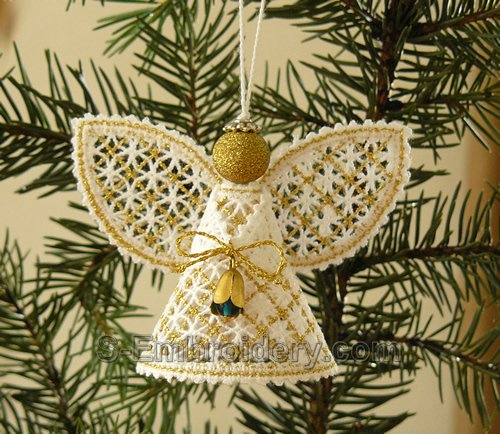 Christmas angel battenberg lace ornament - gold