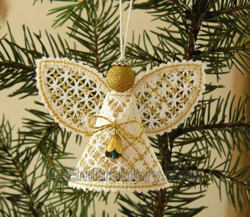Christmas angel battenberg lace ornament - gold
